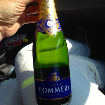 we didn't want to take the time to venture off our route for authentic champagne, so we picked up this half bottle at a gas station in the region. then we also picked up a nicer bottle when we stopped at Reims.