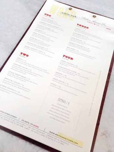 White Oak Kitchen & Cocktails - Menu