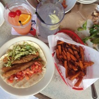 ridiculous fish taco and sweet potato fries at North Beach Bar & Grill