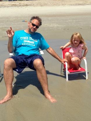 crouching daughter, pontificating daddy