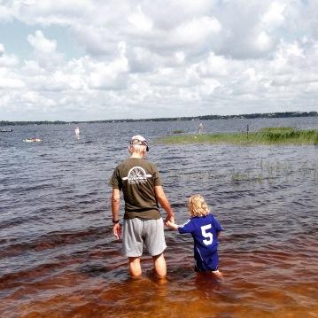 lake wading with Granddad.