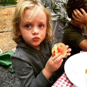 the woods brings out weird things in kids, like eating fruit they never eat at home.