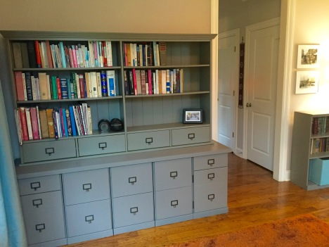 SO much more space for books, filing and hiding random crap than we had before shelving — Ballard Design Original Home Office