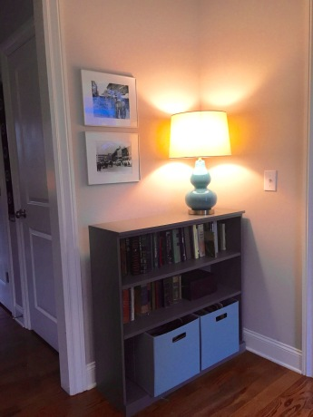more tidy storage and a lamp i love bookshelf — Ballard Design Original Home Office lamp — Target canvas storage — Target