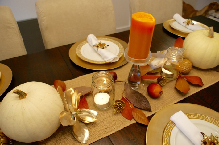 Thanksgiving table: candles & leaves