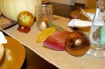 Thanksgiving table: leaves & ornaments