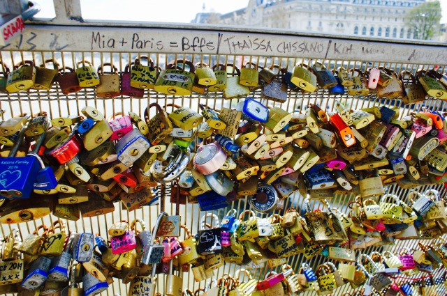 love locks on Pont des Arts, Paris